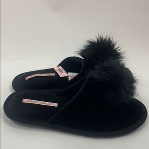 Victoria's Secret black Pom Pom slippers